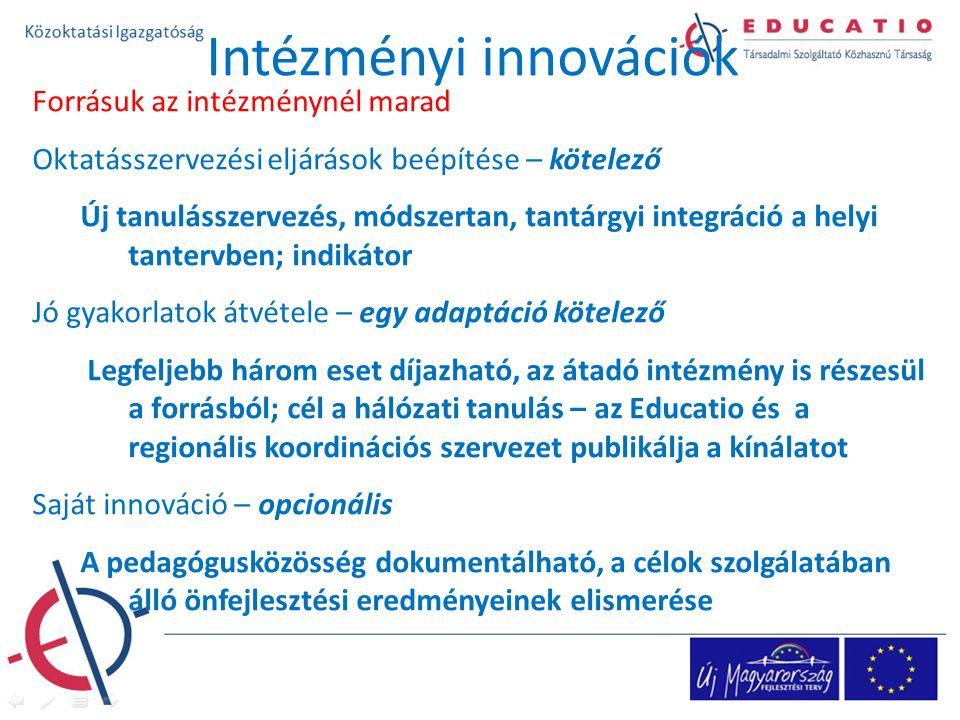 Forrásuk az intézménynél marad Oktatásszervezési eljárások beépítése – kötelező Új tanulásszervezés, módszertan, tantárgyi integráció a helyi tantervben; indikátor Jó gyakorlatok átvétele – egy adaptáció kötelező Legfeljebb három eset díjazható, az átadó intézmény is részesül a forrásból; cél a hálózati tanulás – az Educatio és a regionális koordinációs szervezet publikálja a kínálatot Saját innováció – opcionális A pedagógusközösség dokumentálható, a célok szolgálatában álló önfejlesztési eredményeinek elismerése Intézményi innovációk