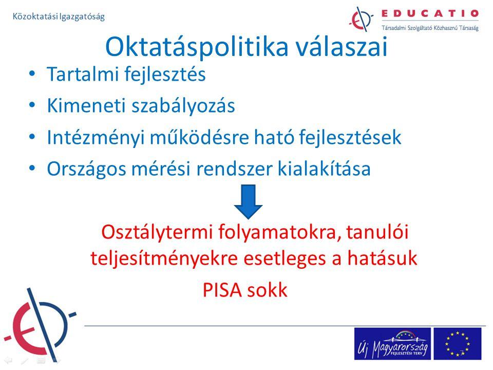 Oktatáspolitika válaszai Tartalmi fejlesztés Kimeneti szabályozás Intézményi működésre ható fejlesztések Országos mérési rendszer kialakítása Osztálytermi folyamatokra, tanulói teljesítményekre esetleges a hatásuk PISA sokk 7