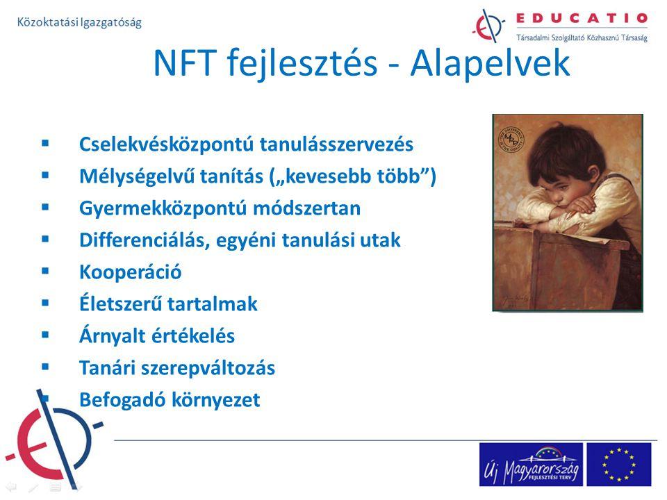 """NFT fejlesztés - Alapelvek  Cselekvésközpontú tanulásszervezés  Mélységelvű tanítás (""""kevesebb több )  Gyermekközpontú módszertan  Differenciálás, egyéni tanulási utak  Kooperáció  Életszerű tartalmak  Árnyalt értékelés  Tanári szerepváltozás  Befogadó környezet"""