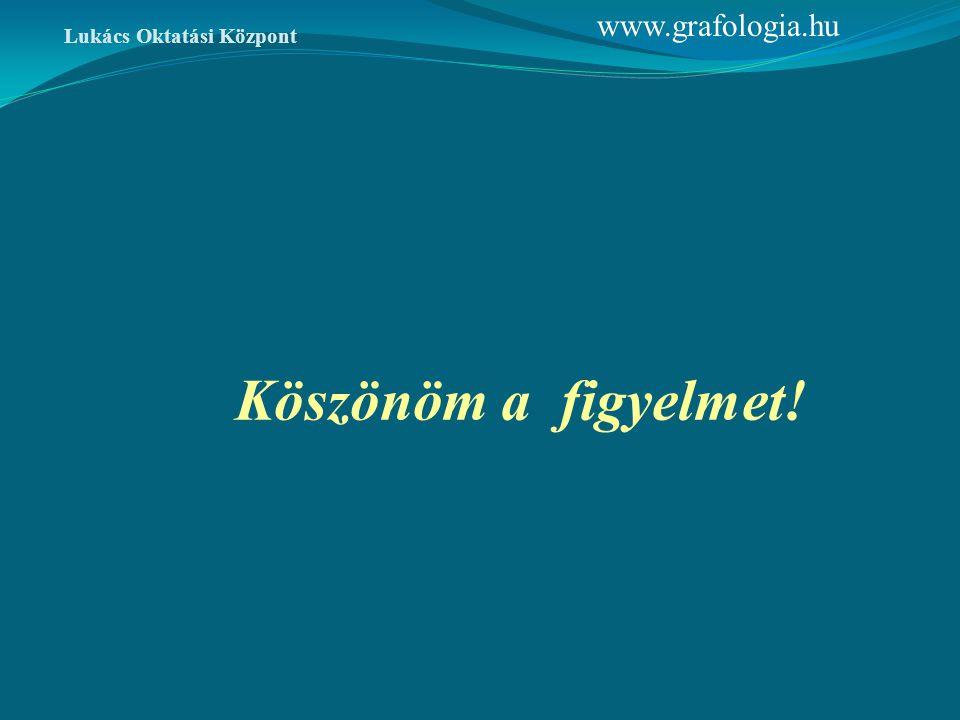 Köszönöm a figyelmet! www.grafologia.hu Lukács Oktatási Központ