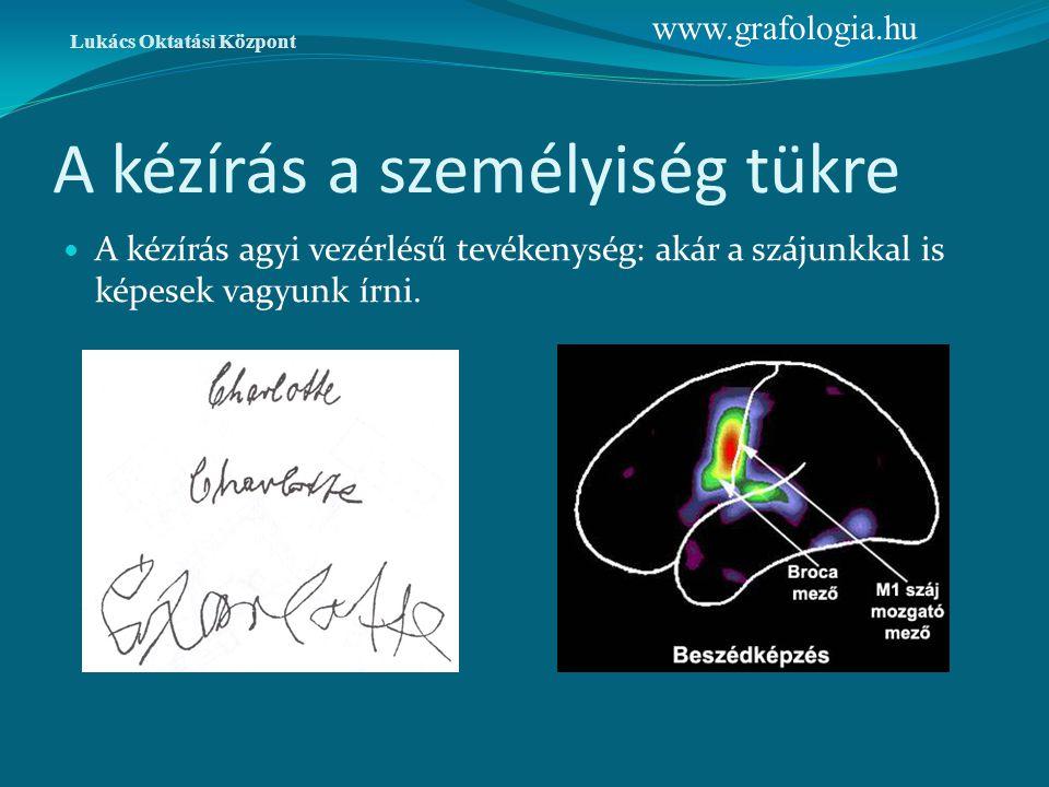 A kézírás a személyiség tükre A kézírás agyi vezérlésű tevékenység: akár a szájunkkal is képesek vagyunk írni. Lukács Oktatási Központ www.grafologia.