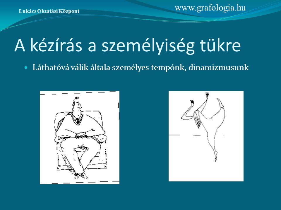 A kézírás a személyiség tükre Láthatóvá válik általa személyes tempónk, dinamizmusunk Lukács Oktatási Központ www.grafologia.hu