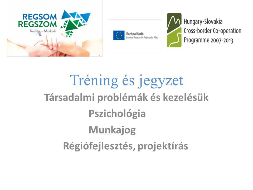 Tréning és jegyzet Társadalmi problémák és kezelésük Pszichológia Munkajog Régiófejlesztés, projektírás