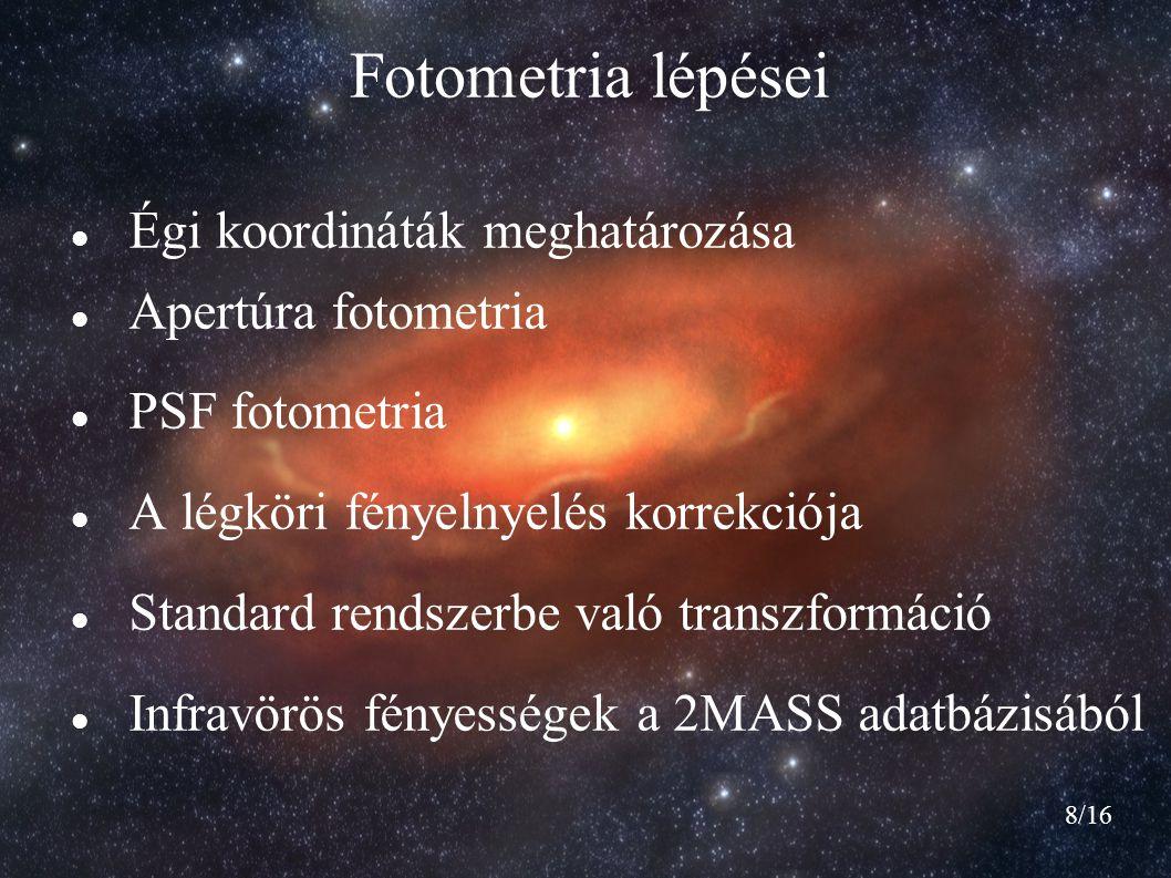8/16 Fotometria lépései Égi koordináták meghatározása Apertúra fotometria PSF fotometria A légköri fényelnyelés korrekciója Standard rendszerbe való t
