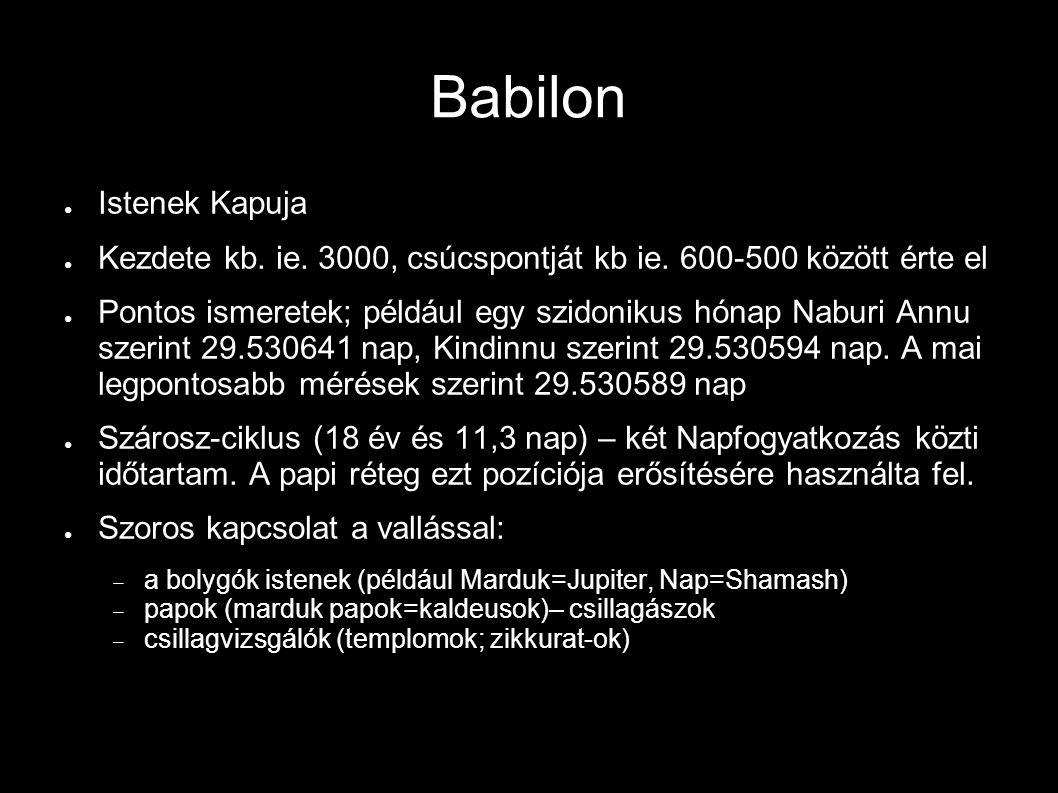 Babilon ● Istenek Kapuja ● Kezdete kb. ie. 3000, csúcspontját kb ie. 600-500 között érte el ● Pontos ismeretek; például egy szidonikus hónap Naburi An