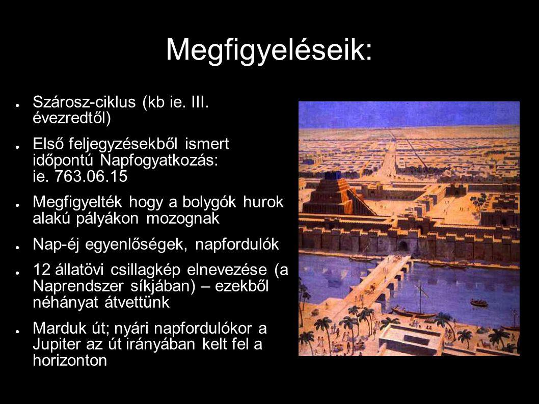 Megfigyeléseik: ● Szárosz-ciklus (kb ie. III. évezredtől) ● Első feljegyzésekből ismert időpontú Napfogyatkozás: ie. 763.06.15 ● Megfigyelték hogy a b