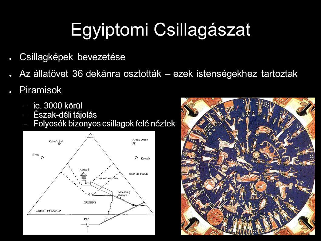 Egyiptomi Csillagászat ● Csillagképek bevezetése ● Az állatövet 36 dekánra osztották – ezek istenségekhez tartoztak ● Piramisok  ie. 3000 körül  Ész