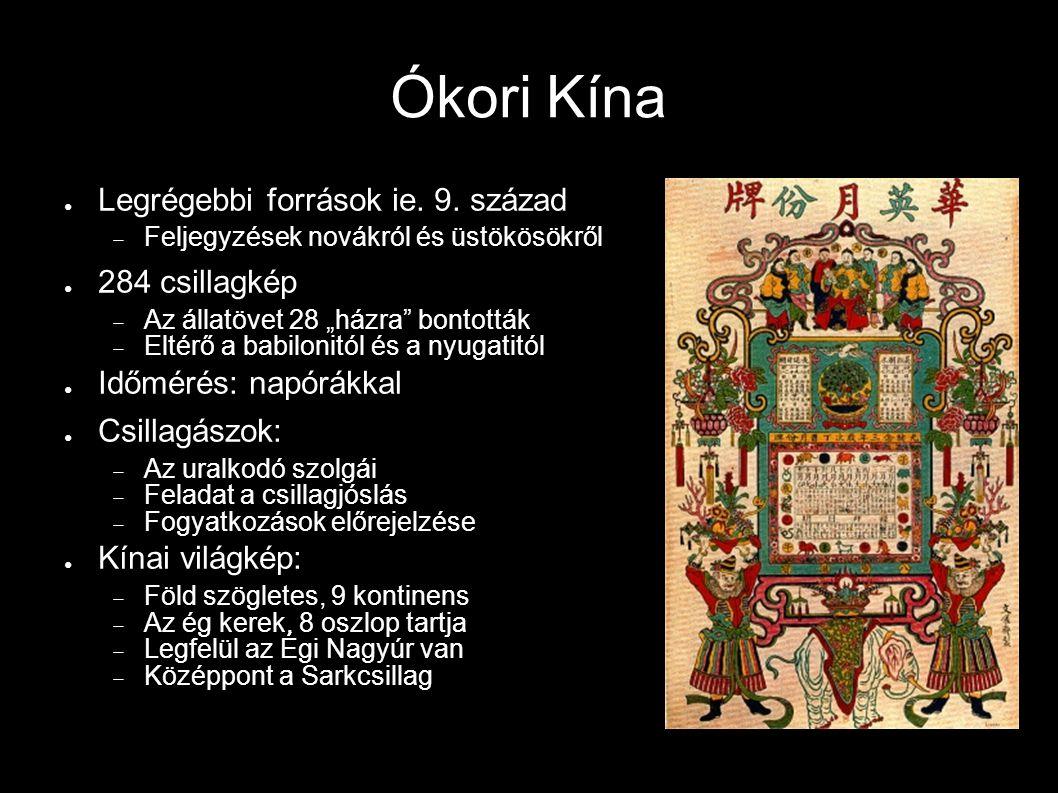 """Ókori Kína ● Legrégebbi források ie. 9. század  Feljegyzések novákról és üstökösökről ● 284 csillagkép  Az állatövet 28 """"házra"""" bontották  Eltérő a"""