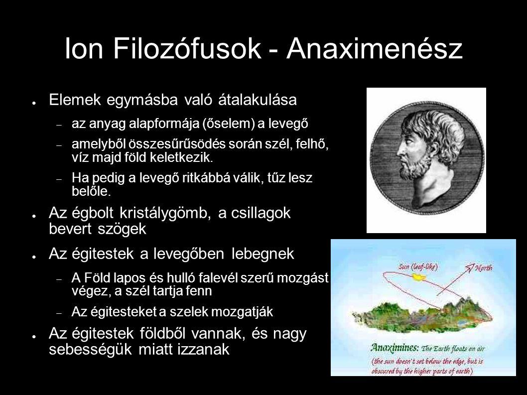 Ion Filozófusok - Anaximenész ● Elemek egymásba való átalakulása  az anyag alapformája (őselem) a levegő  amelyből összesűrűsödés során szél, felhő,