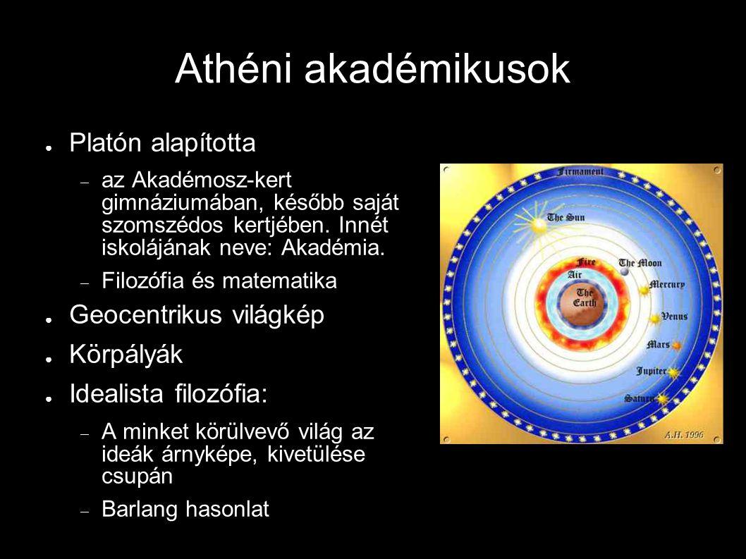 Athéni akadémikusok ● Platón alapította  az Akadémosz-kert gimnáziumában, később saját szomszédos kertjében. Innét iskolájának neve: Akadémia.  Filo