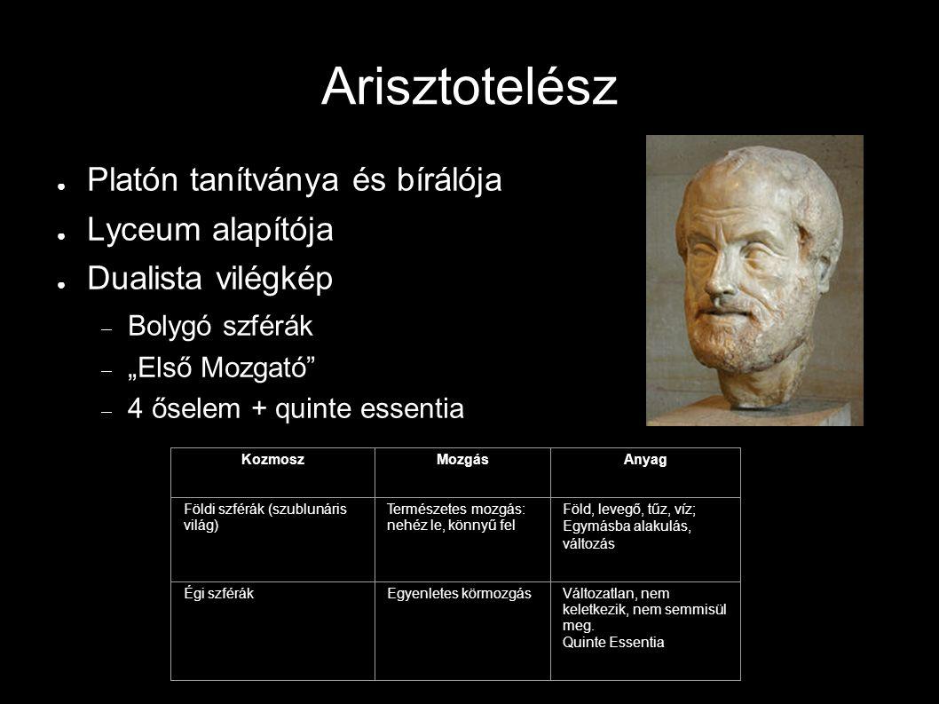 """Arisztotelész ● Platón tanítványa és bírálója ● Lyceum alapítója ● Dualista vilégkép  Bolygó szférák  """"Első Mozgató""""  4 őselem + quinte essentia Ko"""