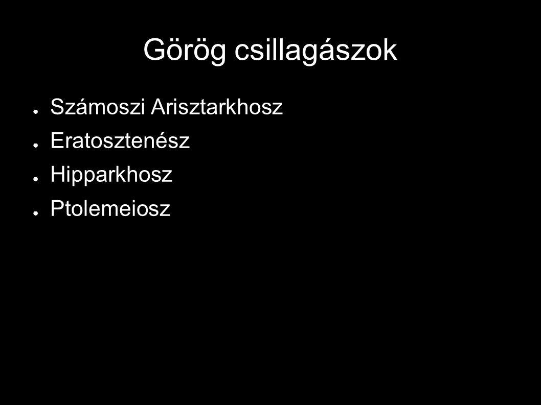 Görög csillagászok ● Számoszi Arisztarkhosz ● Eratosztenész ● Hipparkhosz ● Ptolemeiosz