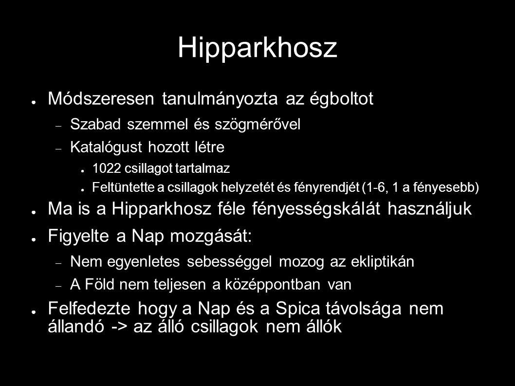 Hipparkhosz ● Módszeresen tanulmányozta az égboltot  Szabad szemmel és szögmérővel  Katalógust hozott létre ● 1022 csillagot tartalmaz ● Feltüntette