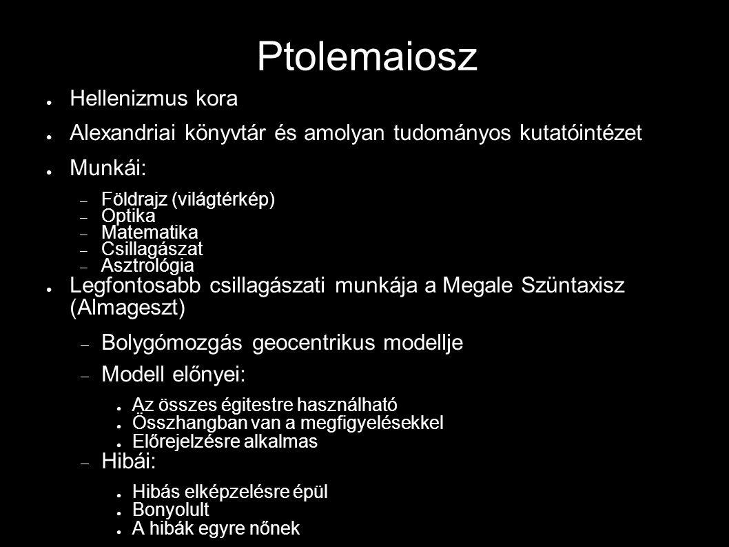 Ptolemaiosz ● Hellenizmus kora ● Alexandriai könyvtár és amolyan tudományos kutatóintézet ● Munkái:  Földrajz (világtérkép)  Optika  Matematika  C