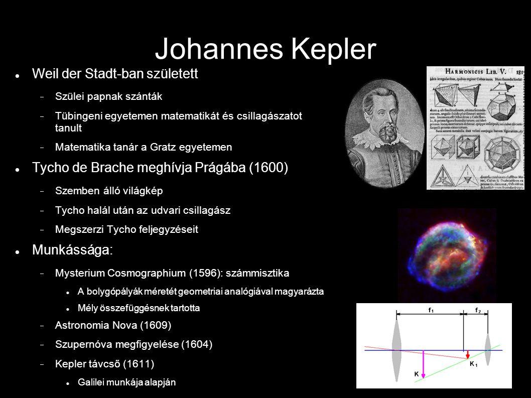 Johannes Kepler Weil der Stadt-ban született  Szülei papnak szánták  Tübingeni egyetemen matematikát és csillagászatot tanult  Matematika tanár a Gratz egyetemen Tycho de Brache meghívja Prágába (1600)  Szemben álló világkép  Tycho halál után az udvari csillagász  Megszerzi Tycho feljegyzéseit Munkássága:  Mysterium Cosmographium (1596): számmisztika A bolygópályák méretét geometriai analógiával magyarázta Mély összefüggésnek tartotta  Astronomia Nova (1609)  Szupernóva megfigyelése (1604)  Kepler távcső (1611) Galilei munkája alapján
