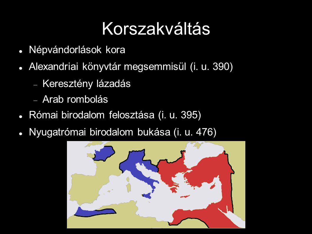 Korszakváltás Népvándorlások kora Alexandriai könyvtár megsemmisül (i.