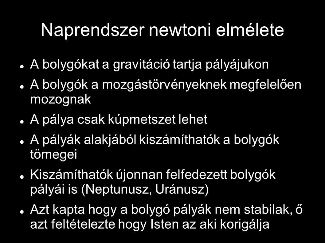 Naprendszer newtoni elmélete A bolygókat a gravitáció tartja pályájukon A bolygók a mozgástörvényeknek megfelelően mozognak A pálya csak kúpmetszet lehet A pályák alakjából kiszámíthatók a bolygók tömegei Kiszámíthatók újonnan felfedezett bolygók pályái is (Neptunusz, Uránusz) Azt kapta hogy a bolygó pályák nem stabilak, ő azt feltételezte hogy Isten az aki korigálja