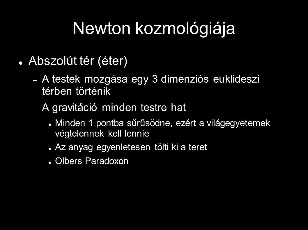 Newton kozmológiája Abszolút tér (éter)  A testek mozgása egy 3 dimenziós euklideszi térben történik  A gravitáció minden testre hat Minden 1 pontba sűrűsödne, ezért a világegyetemek végtelennek kell lennie Az anyag egyenletesen tölti ki a teret Olbers Paradoxon