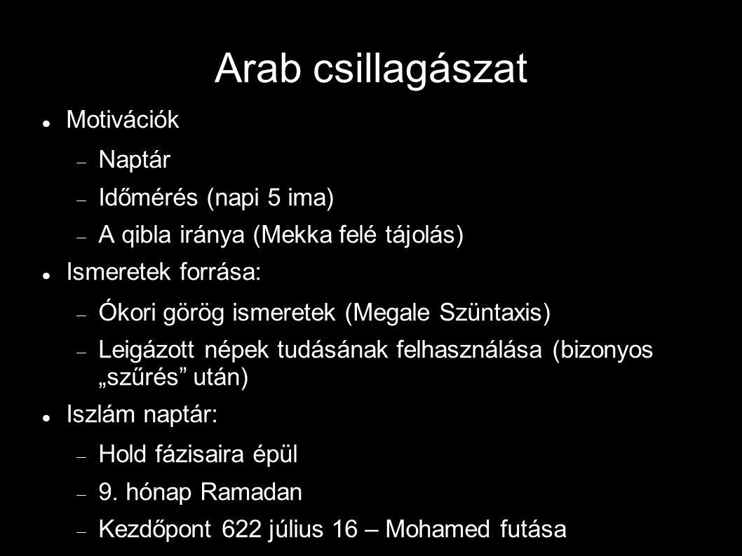 """Arab csillagászat Motivációk  Naptár  Időmérés (napi 5 ima)  A qibla iránya (Mekka felé tájolás) Ismeretek forrása:  Ókori görög ismeretek (Megale Szüntaxis)  Leigázott népek tudásának felhasználása (bizonyos """"szűrés után) Iszlám naptár:  Hold fázisaira épül  9."""