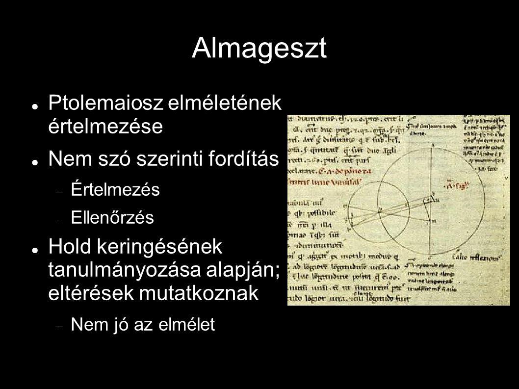 Almageszt Ptolemaiosz elméletének értelmezése Nem szó szerinti fordítás  Értelmezés  Ellenőrzés Hold keringésének tanulmányozása alapján; eltérések mutatkoznak  Nem jó az elmélet
