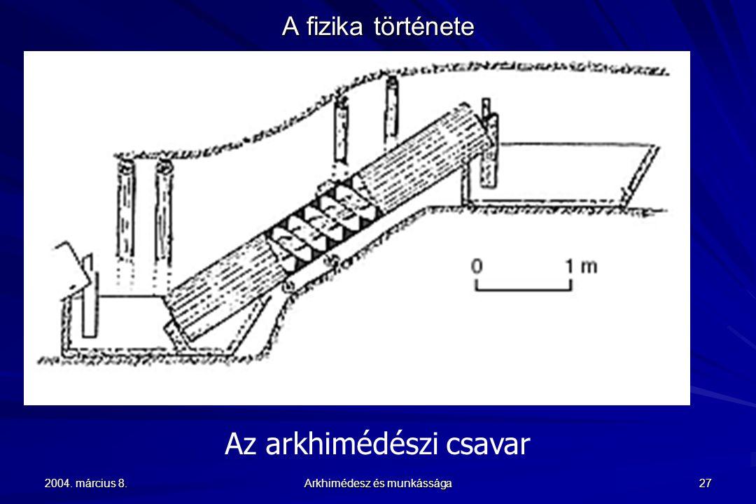 2004. március 8. Arkhimédesz és munkássága 27 A fizika története Az arkhimédészi csavar