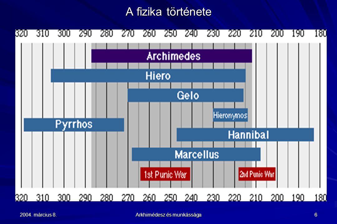 2004.március 8. Arkhimédesz és munkássága 17 A fizika története 1.
