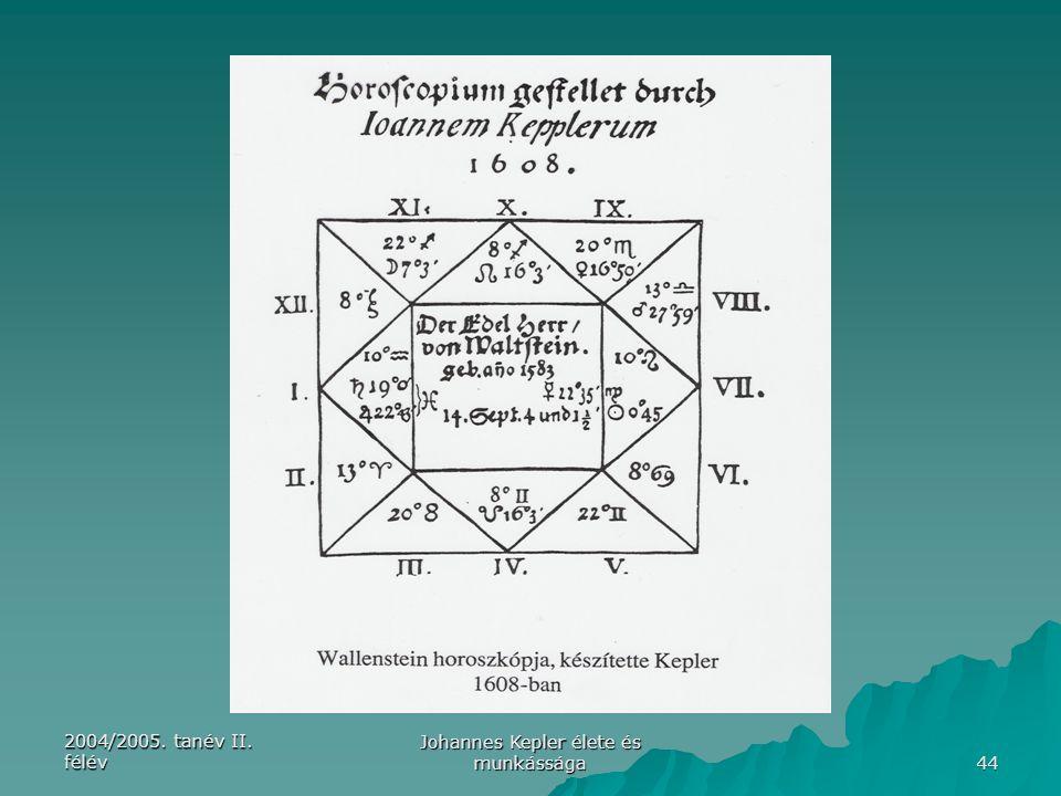 2004/2005. tanév II. félév Johannes Kepler élete és munkássága 44
