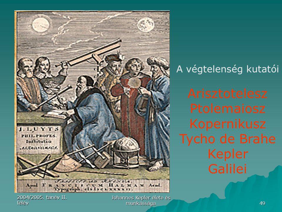2004/2005. tanév II. félév Johannes Kepler élete és munkássága 49 A végtelenség kutatói Arisztotelesz Ptolemaiosz Kopernikusz Tycho de Brahe Kepler Ga
