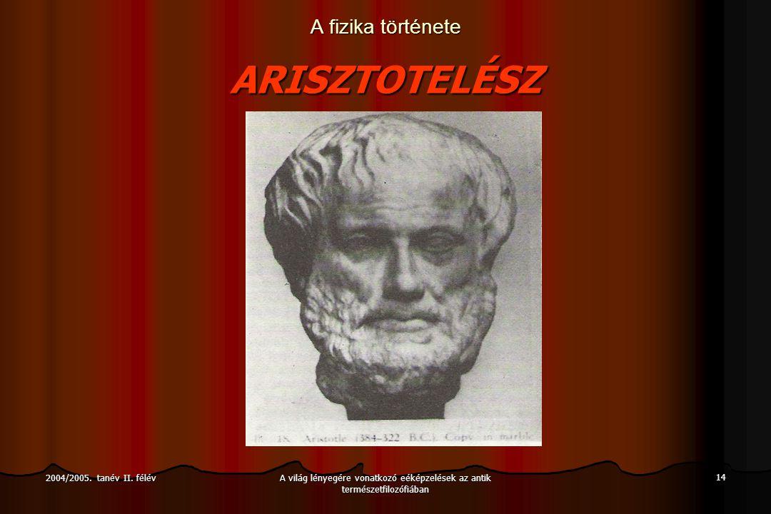 A világ lényegére vonatkozó eéképzelések az antik természetfilozófiában 14 2004/2005.