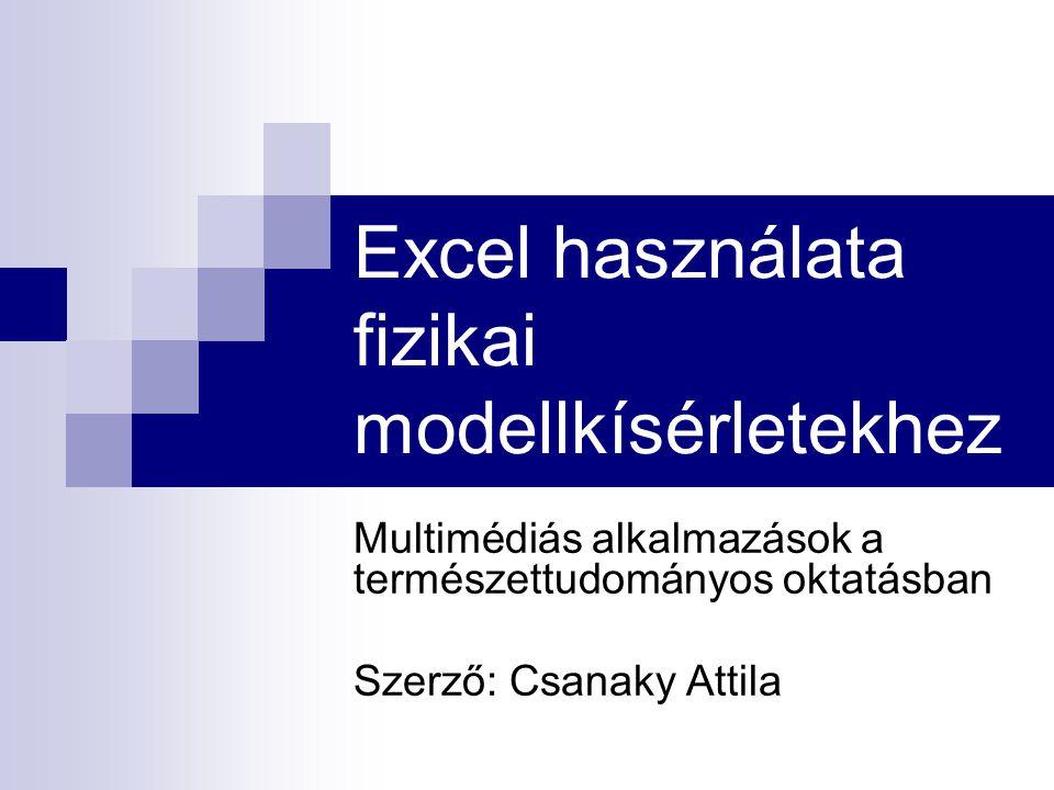 Excel használata fizikai modellkísérletekhez Multimédiás alkalmazások a természettudományos oktatásban Szerző: Csanaky Attila