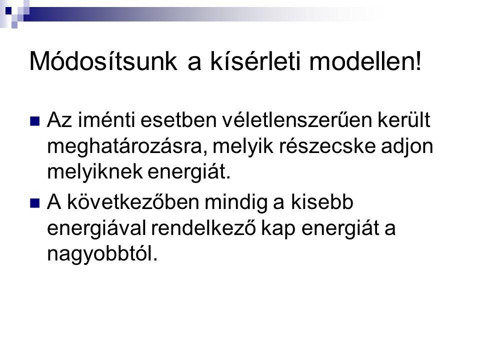 Módosítsunk a kísérleti modellen! Az iménti esetben véletlenszerűen került meghatározásra, melyik részecske adjon melyiknek energiát. A következőben m