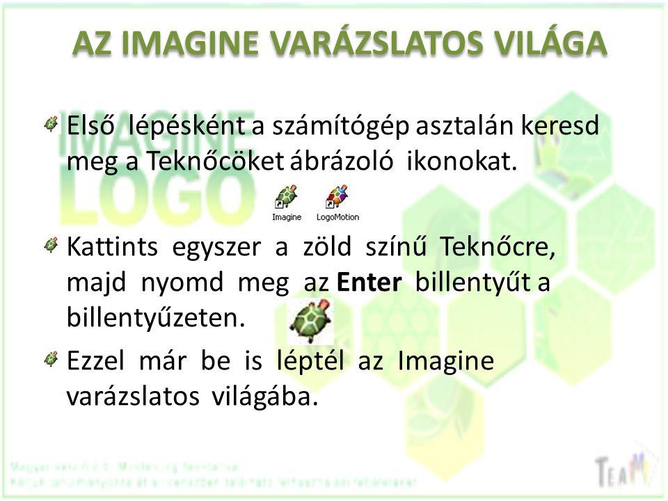 AZ IMAGINE VARÁZSLATOS VILÁGA Első lépésként a számítógép asztalán keresd meg a Teknőcöket ábrázoló ikonokat. Kattints egyszer a zöld színű Teknőcre,