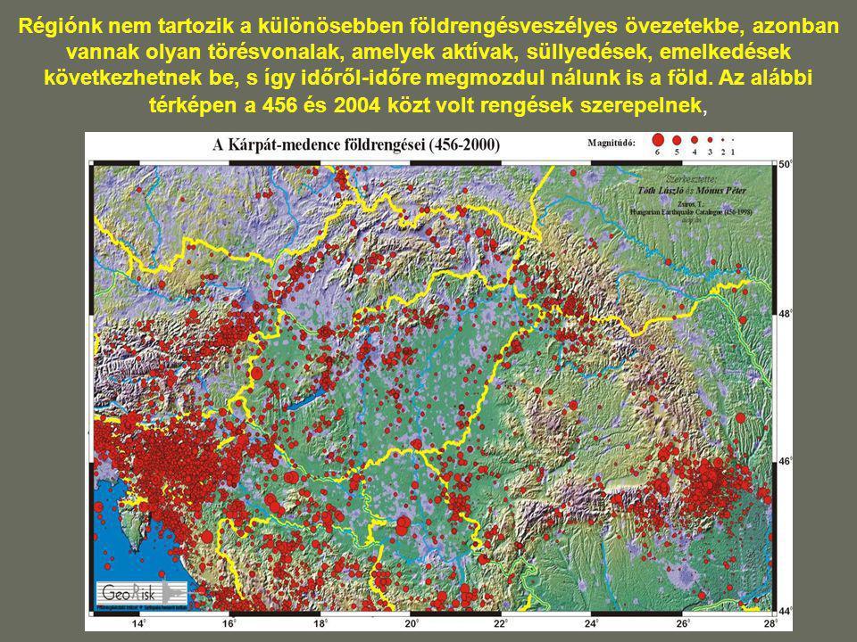 Régiónk nem tartozik a különösebben földrengésveszélyes övezetekbe, azonban vannak olyan törésvonalak, amelyek aktívak, süllyedések, emelkedések követ