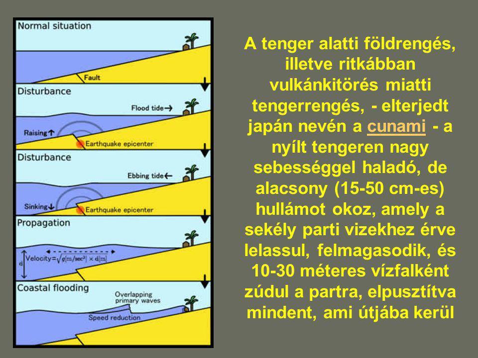 A tenger alatti földrengés, illetve ritkábban vulkánkitörés miatti tengerrengés, - elterjedt japán nevén a cunami - a nyílt tengeren nagy sebességgel