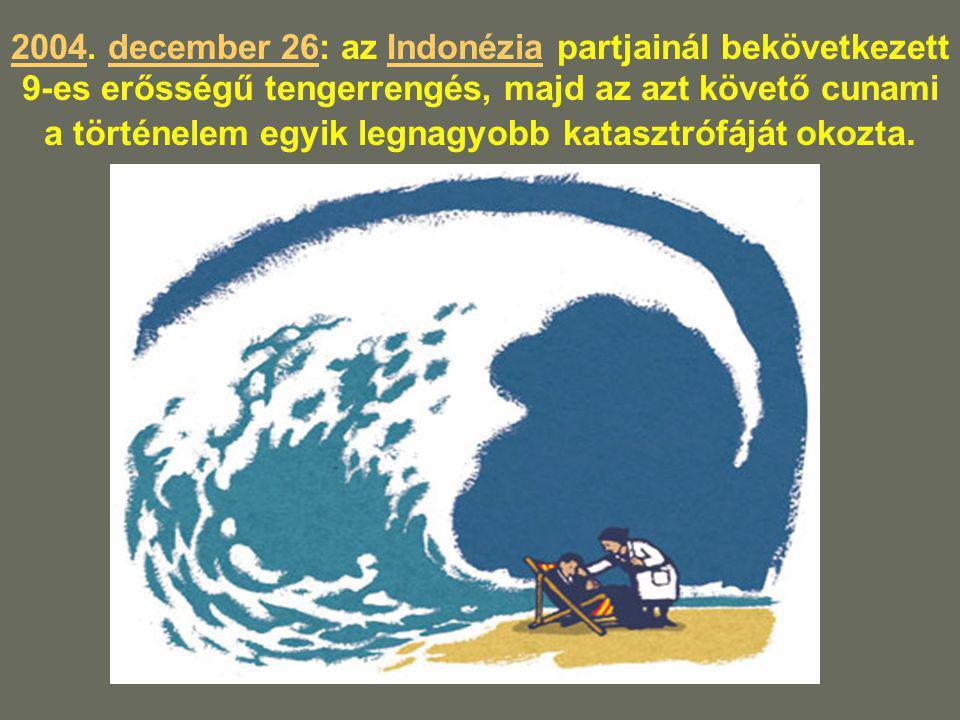 20042004. december 26: az Indonézia partjainál bekövetkezett 9-es erősségű tengerrengés, majd az azt követő cunami a történelem egyik legnagyobb katas