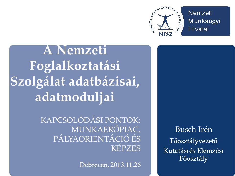A Nemzeti Foglalkoztatási Szolgálat adatbázisai, adatmoduljai Busch Irén Főosztályvezető Kutatási és Elemzési Főosztály KAPCSOLÓDÁSI PONTOK: MUNKAERŐPIAC, PÁLYAORIENTÁCIÓ ÉS KÉPZÉS Debrecen, 2013.11.26