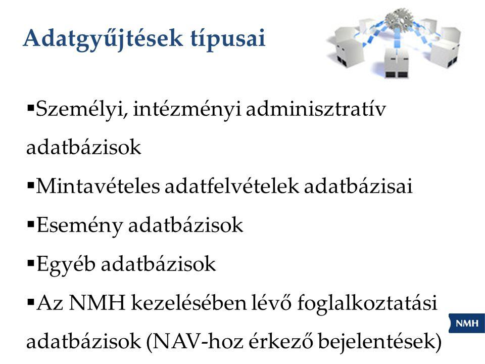 Adatgyűjtések típusai  Személyi, intézményi adminisztratív adatbázisok  Mintavételes adatfelvételek adatbázisai  Esemény adatbázisok  Egyéb adatbázisok  Az NMH kezelésében lévő foglalkoztatási adatbázisok (NAV-hoz érkező bejelentések)