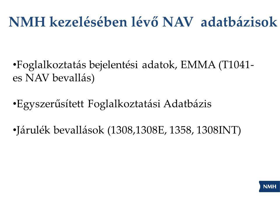 NMH kezelésében lévő NAV adatbázisok Foglalkoztatás bejelentési adatok, EMMA (T1041- es NAV bevallás) Egyszerűsített Foglalkoztatási Adatbázis Járulék bevallások (1308,1308E, 1358, 1308INT)