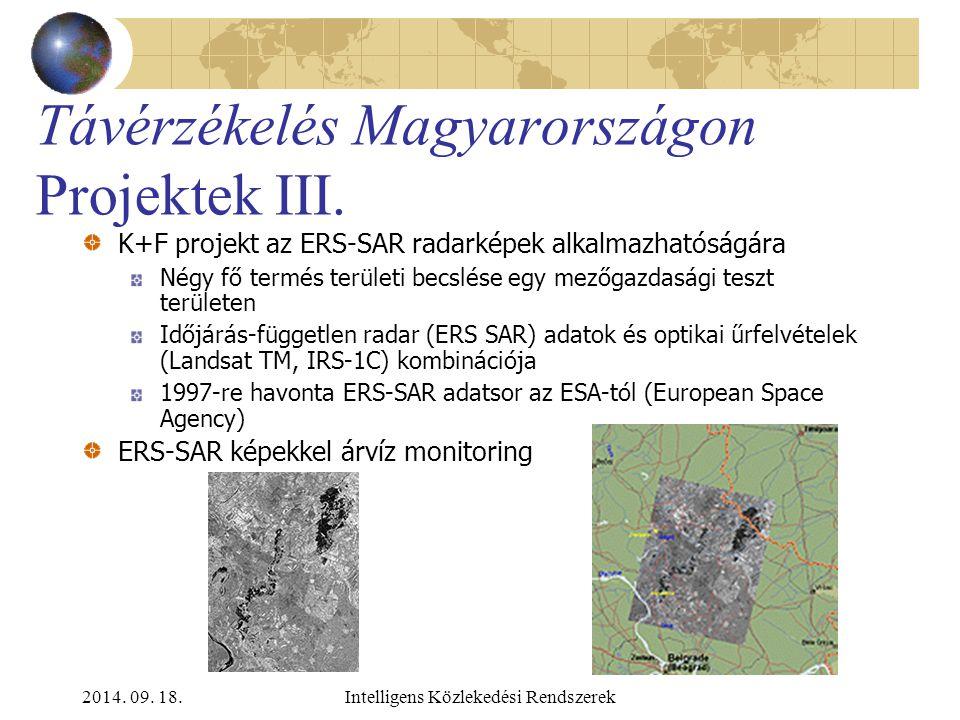 2014. 09. 18.Intelligens Közlekedési Rendszerek Távérzékelés Magyarországon Projektek II. Nemzeti termény monitoring és előrejelzés program: Magyar me