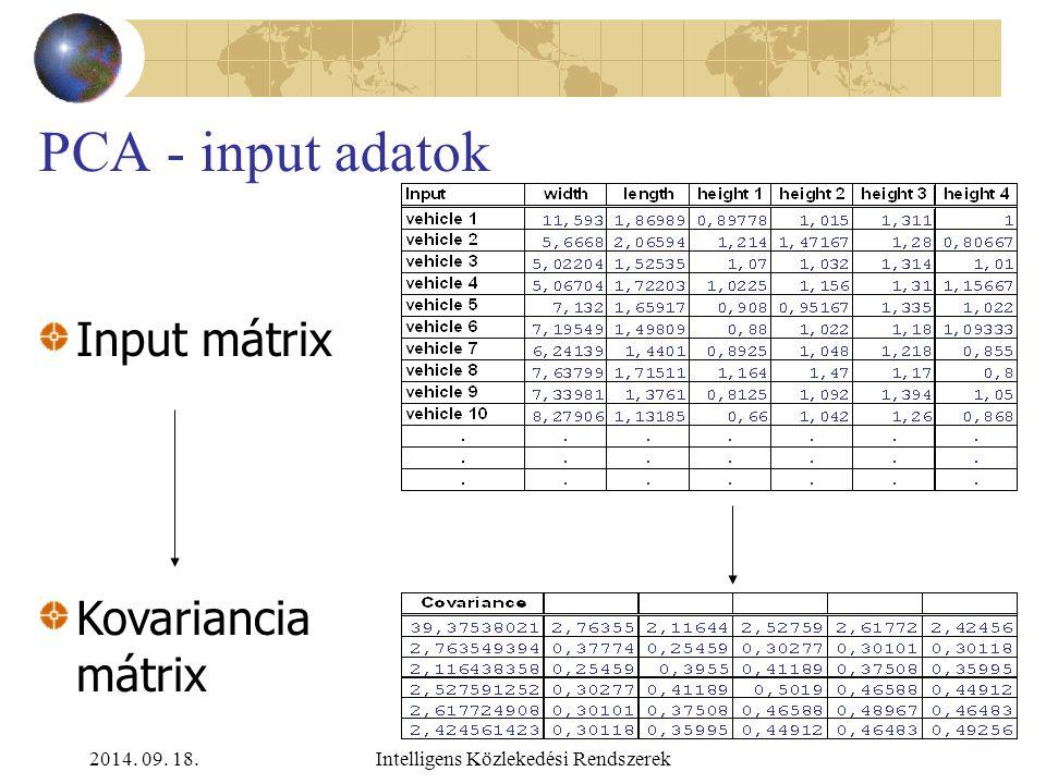 2014. 09. 18.Intelligens Közlekedési Rendszerek Főkomponens analízis (Principal Component Analysis – PCA) A PCA segítségével összefüggő változókat leh