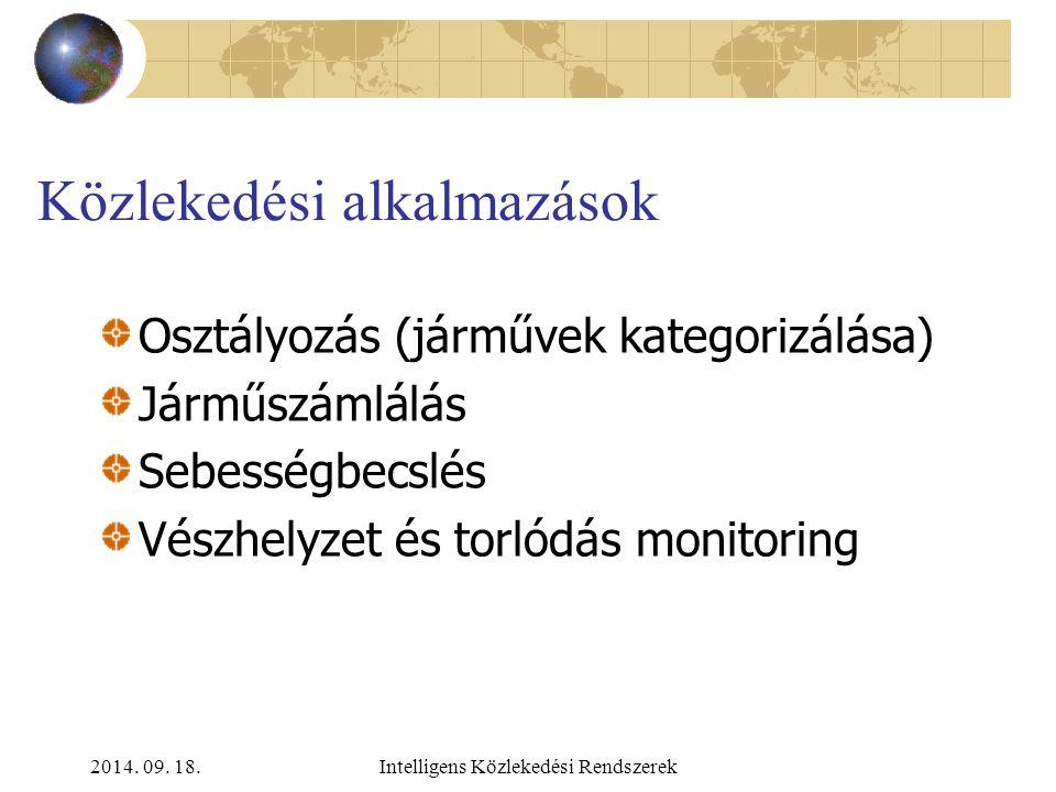 2014. 09. 18.Intelligens Közlekedési Rendszerek Egyéb távérzékelési módszerek a közlekedési adatnyerésben LiDAR – snapshot Dinamikus információk: digi