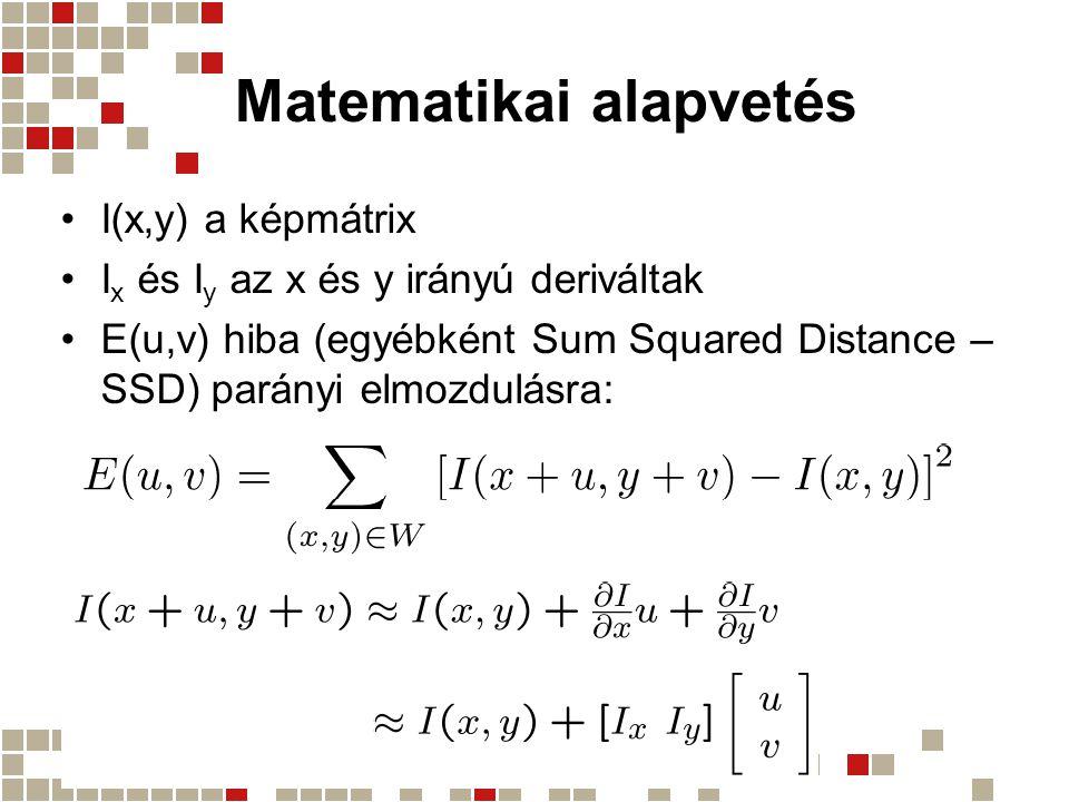 Matematikai alapvetés I(x,y) a képmátrix I x és I y az x és y irányú deriváltak E(u,v) hiba (egyébként Sum Squared Distance – SSD) parányi elmozdulásra: