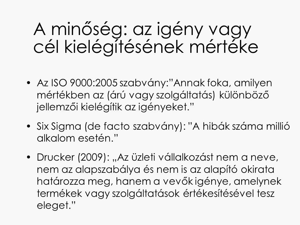 """A minőség: az igény vagy cél kielégítésének mértéke Az ISO 9000:2005 szabvány:""""Annak foka, amilyen mértékben az (árú vagy szolgáltatás) különböző jell"""