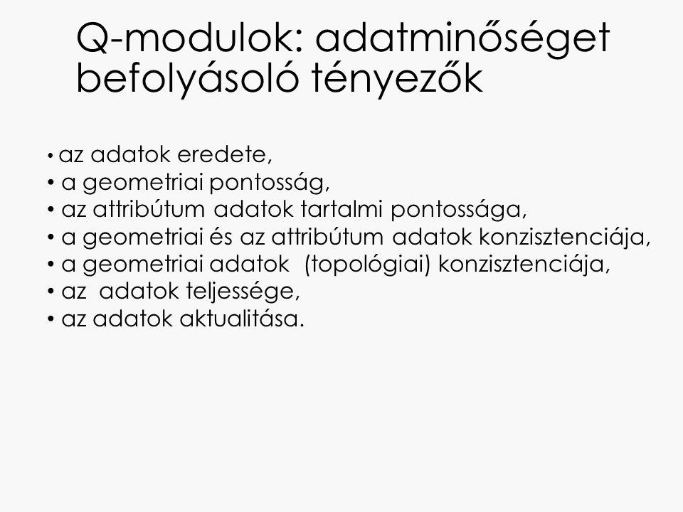 Q-modulok: adatminőséget befolyásoló tényezők az adatok eredete, a geometriai pontosság, az attribútum adatok tartalmi pontossága, a geometriai és az