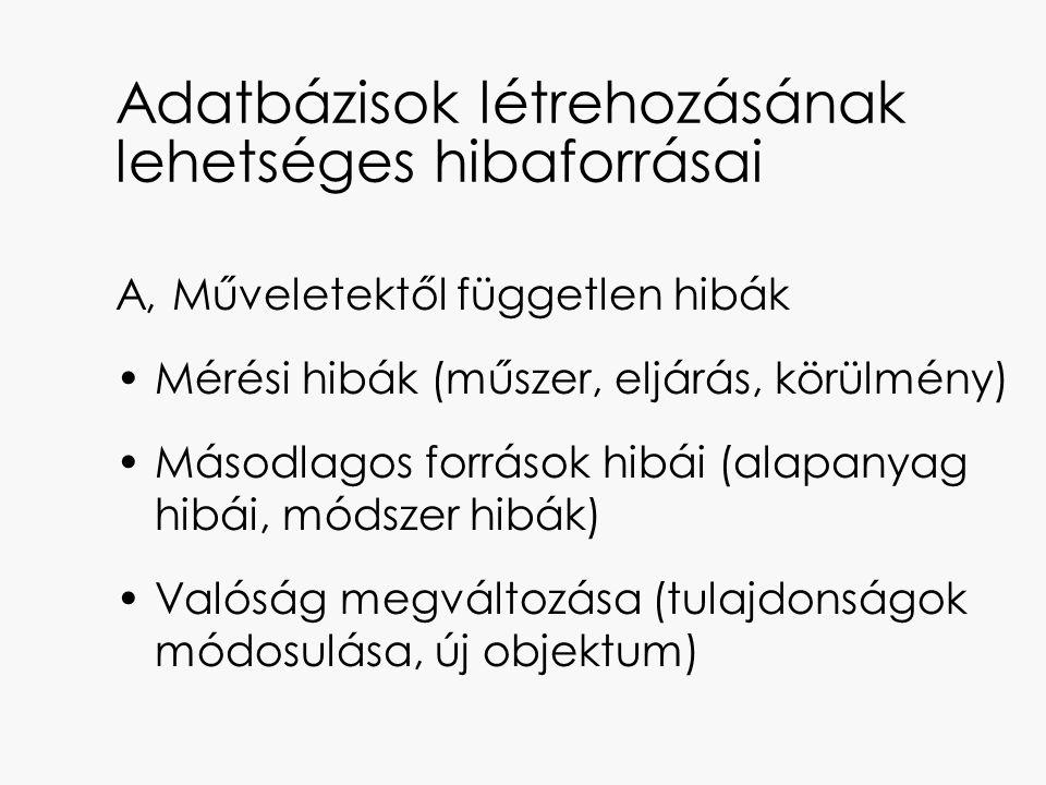 Adatbázisok létrehozásának lehetséges hibaforrásai A, Műveletektől független hibák Mérési hibák (műszer, eljárás, körülmény) Másodlagos források hibái