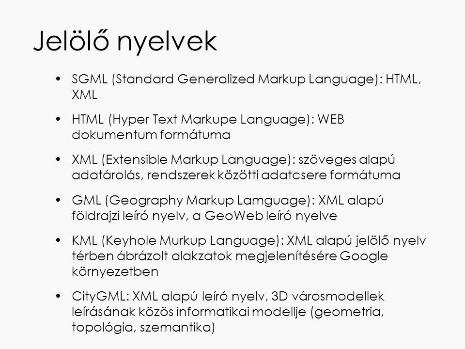 Jelölő nyelvek SGML (Standard Generalized Markup Language): HTML, XML HTML (Hyper Text Markupe Language): WEB dokumentum formátuma XML (Extensible Mar