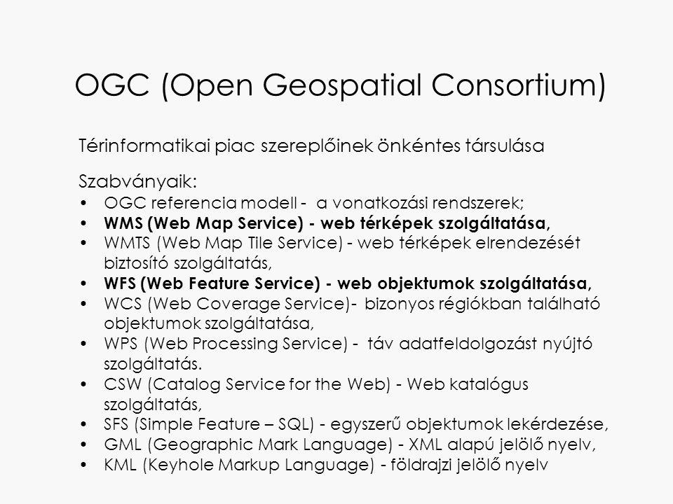OGC (Open Geospatial Consortium) Térinformatikai piac szereplőinek önkéntes társulása Szabványaik: OGC referencia modell - a vonatkozási rendszerek; W