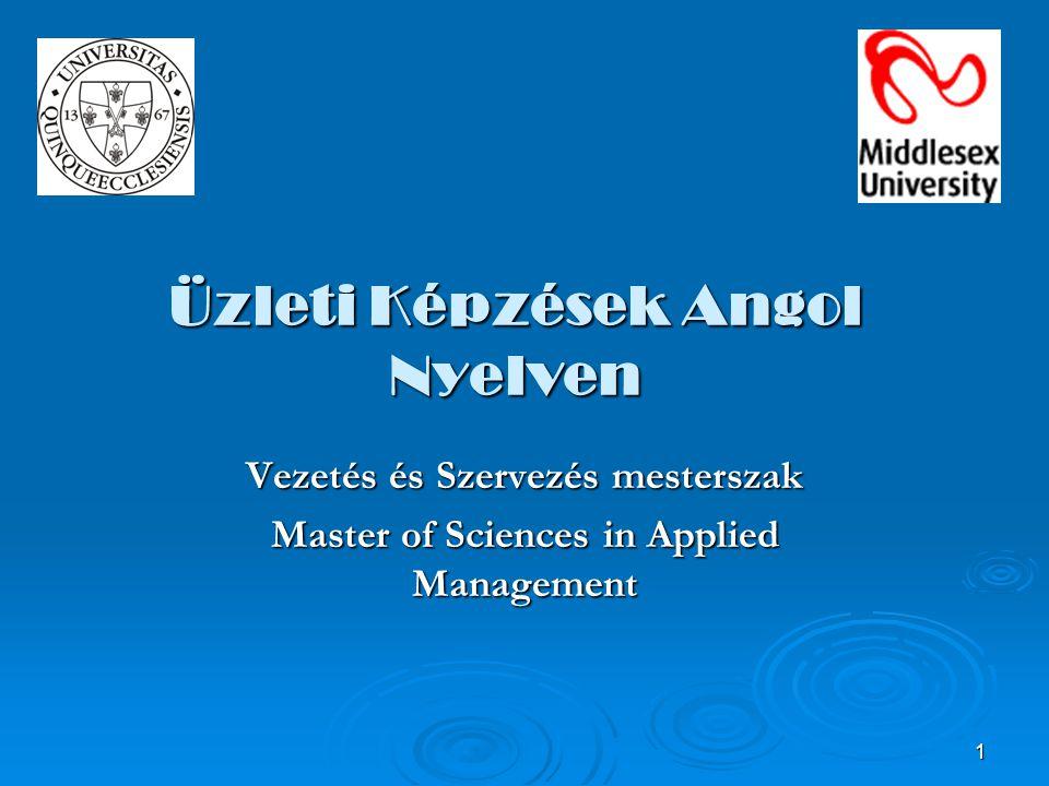 1 Üzleti Képzések Angol Nyelven Vezetés és Szervezés mesterszak Master of Sciences in Applied Management
