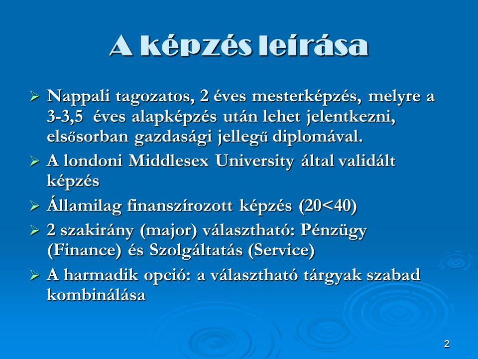 3 A képzés el ő nyei  A tanulmányok sikeres befejezése esetén a hallgató 2 diplomát szerez: egy magyar nyelvű okleves közgazdász Vezetés és Szervezés mester szakon oklevelet (angol nyelven megjegyzéssel) és egy angol nyelvű – EU kompatibilis – MSc in Applied Management diplomát (a major feltüntetésével) a MDX University-t ő l  Piacképes diplomák  Innovatív képzés a legkorszer ű bb külföldi és hazai tudományos eredmények bázisán  A hazai fels ő oktatásban egyedülállóan több mint 10 éves tapasztalat a kétszint ű (BA és Master) üzleti képzésben  A záróvizsga sikeres letétele egy angol, fels ő fokú, szakmai anyaggal b ő vített nyelvvizsgával egyenérték ű