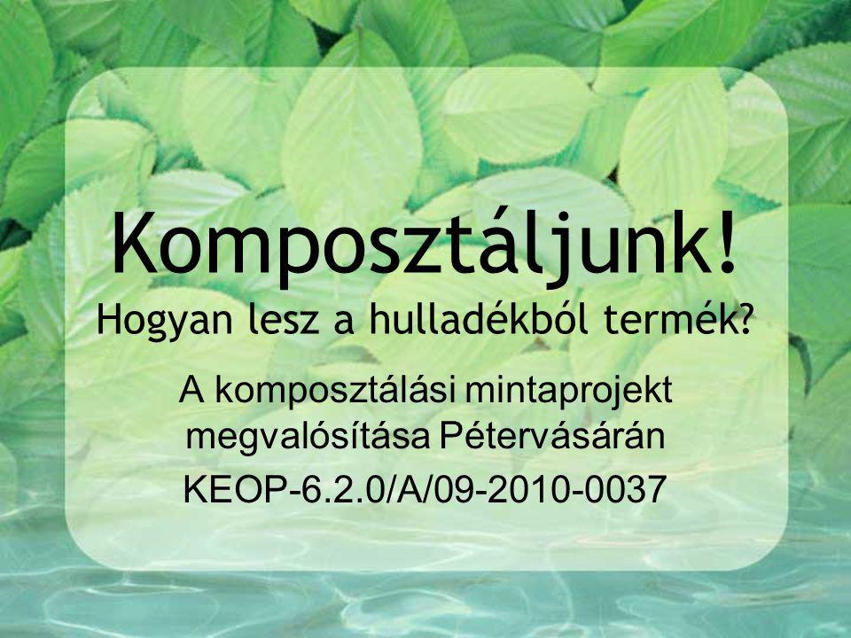 Előzmények Pétervására Város Önkormányzata sikeresen pályázott egy komplex komposztálási program (nevezetesen a KEOP – 6.2.0/A/09-2010-0037 számú) megvalósítására.